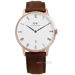 Daniel Wellington/DW00100083/Dapper真皮手錶 玫金x咖啡38mm