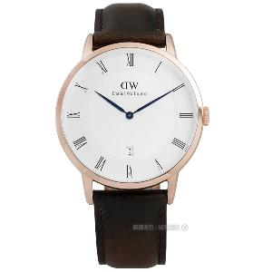 DW Daniel Wellington/DW00100086Dapper真皮手錶 玫金x褐38mm