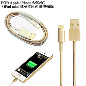 YHO Apple iPhone 5/5S/5C/SE/iPad mini 土豪金充電傳輸線
