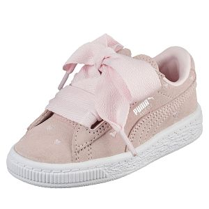PUMA-Suede Heart Valentine PS 孩童復古籃球運動鞋-珍珠色(UK12=18.5CM)