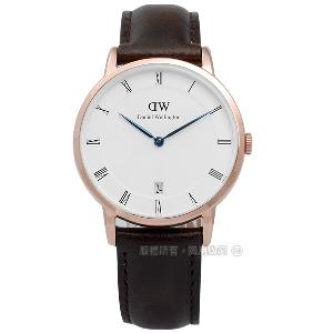 Daniel Wellington/DW00100094/Dapper真皮手錶 玫瑰金x深褐34mm