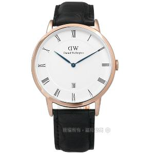 Daniel Wellington/DW00100107/Dapper鱷紋真皮手錶 玫金x黑38mm