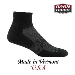 【美國DARN TOUGH】 1/4 Sock Ultra-Light黑/灰色-2入(L)