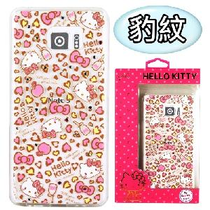 【Hello Kitty】Samsung Galaxy Note 5 彩鑽透明保護軟套(豹紋)