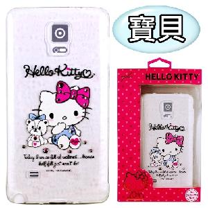 【Hello Kitty】Samsung Galaxy Note 4 彩鑽透明保護軟套(寶貝)