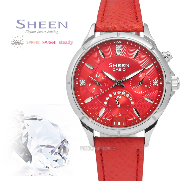 SHEEN CASIO/SHE-3047L-4A/�d��ڬI�ج��@�_�����T���u�ֵÿ� ��x�Ȯ�34mm-�ӫ~²����3