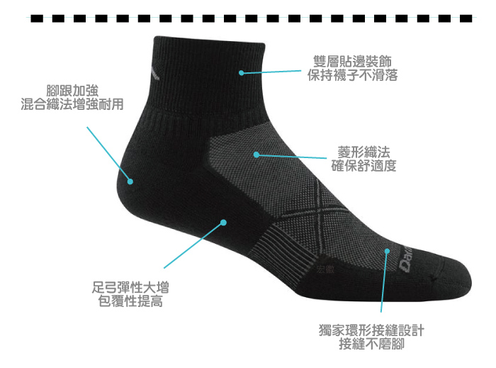 【美國DARN TOUGH】 1/4 Sock Ultra-Light黑/灰色-2入(M)-商品簡介圖2