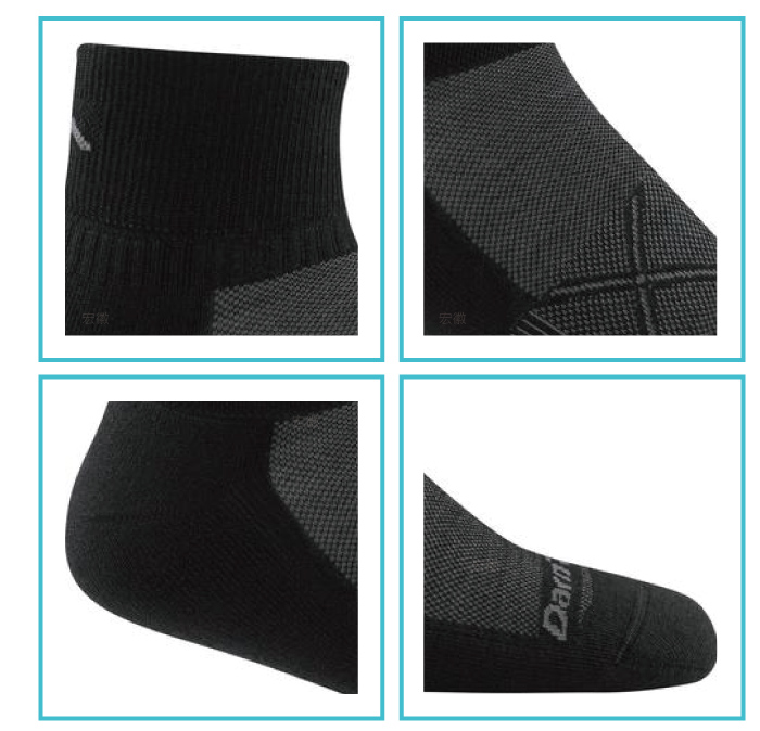 【美國DARN TOUGH】 1/4 Sock Ultra-Light黑/灰色-2入(M)-商品簡介圖3