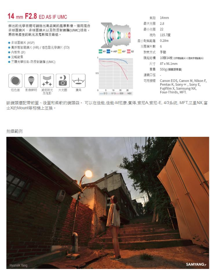韓國 SAMYANG 三陽光學 14mm F2.8 ED AS IF UMC FULL FRAME(SONY)-商品規格