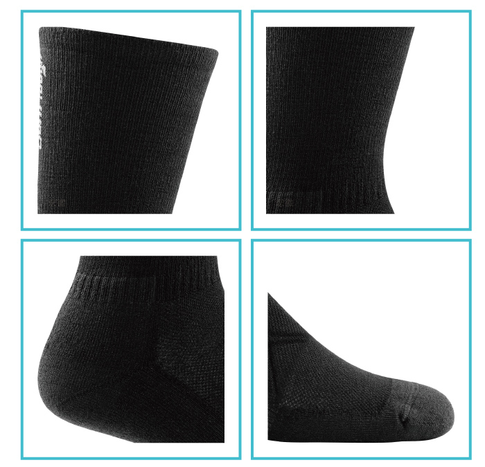 【美國DARN TOUGH】Coolmax 1/4 Sock Ultra-Light 黑色-2入(L)-商品簡介圖3