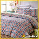 Smiley World《快樂旋轉》標準雙人精梳棉床包兩用被套四件組(卡其)