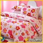 Smiley World《幸福櫻棧》標準雙人精梳棉床包兩用被套四件組(粉)