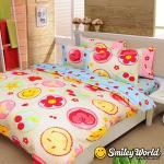 Smiley World《快樂糕點》長纖絲光精梳棉雙人床包三件組 (晴空藍)