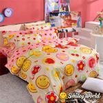 Smiley World《快樂糕點》長纖絲光精梳棉雙人床包三件組(草莓粉)