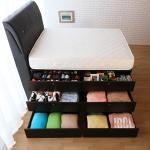【契斯特】大容量收納靠牆三層抽屜床墊床底-雙人5x6尺(胡桃色)