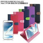 【台灣製造】FOCUSS 三星 GALAXY Note 2 N7100彩虹書本支架側翻皮套(藍綠)