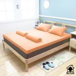 [輕鬆睡-EzTek] S型溝槽式竹炭感溫釋壓記憶床墊{雙人加大7cm}繽紛多彩2色(風尚橘)