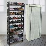 LIFECODE《可調式》十層鞋架/可放30雙鞋-黑色+ 防塵套(米白)