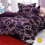 Smiley World《快樂串連》水貂絨標準雙人床包被套四件組(櫻桃紫)