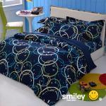 Smiley World《快樂串連》水貂絨標準雙人床包被套四件組(遠洋藍)
