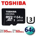 TOSHIBA 64GB EXCERIA UHS-I Class3 microSDXC U3 ���t�d