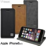 Metal-Slim Apple iPhone 6/6S(4.7)瘋馬紋圓孔設計站立皮套(灰)
