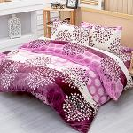 Lapin 柳葉紫 法蘭絨雙人四件式兩用被鋪棉床包組