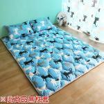 【HomeBeauty】 可愛涼感日式收納床墊-特大(藍色喵喵)