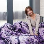 Lapin 紫花迷情 法蘭絨雙人四件式兩用被鋪棉床包組