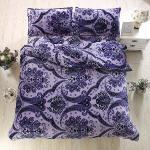 Lapin 紫花迷情 法蘭絨特大四件式兩用被鋪棉床包組