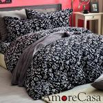 【AmoreCasa】典藏花藝 頂級法蘭絨加大舖棉床包被套組