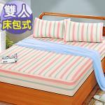 J‧bedtime【童話-紅】雙人防潑水床包式保潔墊