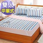 J‧bedtime【童話-藍】雙人防潑水平單式保潔墊