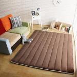 【HomeBeauty】舒柔柔法蘭絨極厚矩形加大地墊-180x150cm(共八色)(咖啡色)