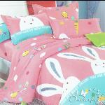 【BUTTERFLY】快樂兔-粉 柔絲絨 單人單件被套 4.5x6.5尺