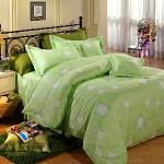 Novaya《幸運草》絲光棉雙人四件式鋪棉兩用被床包組(綠)