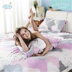 【obis】100%純棉雙人加大6X6.2尺床包兩用被組-棉花糖