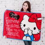【seoul幸福市集】日本空運Hello Kitty金紡絨舒柔毛毯(紅-摀嘴貓)