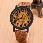 【Seoul幸福市集】時尚流行仿木紋數字手錶(深棕色)