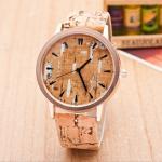 【Seoul幸福市集】時尚流行仿木紋潑漆風格數字手錶(白色)