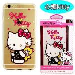 【Hello Kitty】iPhone 6 Plus/6s Plus 彩繪透明保護軟套(心媚kitty)