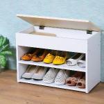 《Homelike》雅緻掀蓋式穿鞋椅-楓木+白色