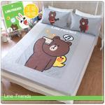【LINE正版寢具】雙人床包枕套三件組-熊大自拍秀-灰