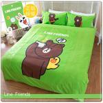 【LINE正版寢具】雙人被套6*7尺-熊大自拍秀-綠