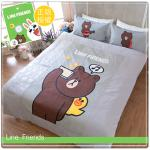 【LINE正版寢具】單人床包被套三件組-熊大自拍秀-灰