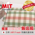 《Embrace英柏絲》台灣製 經典格紋 飯店級AIR Fresh抗菌枕 46x68cm