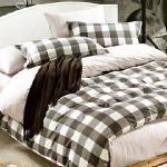 BELLE VIE 方格時尚 精梳棉單人四件式床包兩用被組