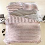 BELLE VIE 宜家風格-紅 精梳棉雙人五件式床包兩用被組