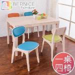 Bernice-莉亞簡約日式實木餐桌椅組(三色可選)((桌)原木色、(椅)藍色)
