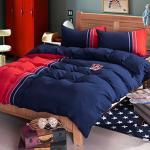 RODERLY 時尚英倫 貼布繡 四件式鋪棉兩用被床包組-加大